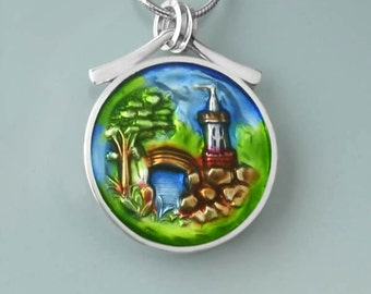 Ivy Woodrose  PMC, sterling and resin castle pendant
