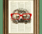 Hedgehog Smarty Pants Hedge hog with red glasses illustration beautifully upcycled dictionary page book art print