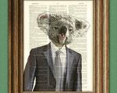 Koala Art Print Well-Suited KOALA BEAR illustration beautifully upcycled dictionary page book art print