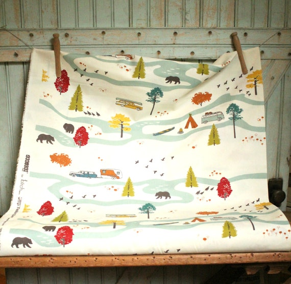 Organic River Camping Fabric by the Yard Yardage Tenting & Vintage Campers Glamping by the Feather River by Birch Fabrics - Happy Campers