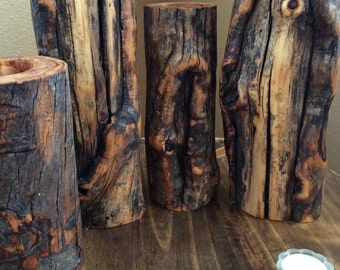 Rustic Wooden candles in Distinctively Different Elk Rub Aspen Wood
