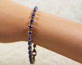 Vintage Sapphire Blue Single Strand Golden Rhinestone Bracelet