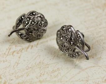 Vintage Theda Marcasite Sterling Silver Flower Screwback Earrings
