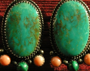 Southwest Sterling Silver Turquoise Multi-Stone Clip Earrings