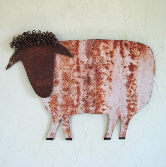 Metal folk art home decor - Sheep - handmade repurposed metal wall sculpture 10 x 14
