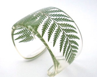 Green Fern Eco Resin Cuff.   Fern Cuff with Personalized Engraving. Chunky Wide Cuff Bracelet.  Real Fern. Size XS Small Large XL
