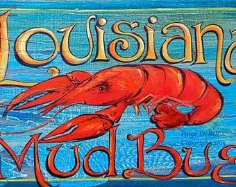 "LOUISIANA MUDBUG** CRAWFISH**11"" x17"" Print of Original Acrylic on Canvas"