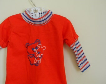 Vintage Baby's Knit Turtleneck with Embroidered Bear and Bunny - Size 6 Months