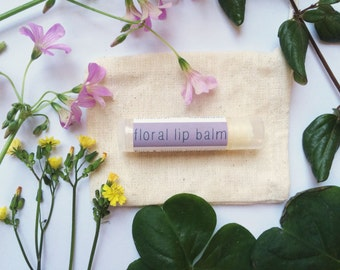 Floral All-Natural Lip Balm // Tube // Organic