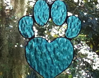 Sky Blue Heart Dog Paw Print Stained Glass Sun Catcher Great Gift for Dog Lovers!