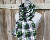 Blanket Scarf - Flannel Scarf - Plaid Scarf in Blue, Green, Yellow
