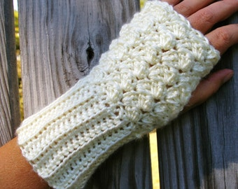 Fingerless Gloves Arm Warmers in Vanilla Cream Hand Crocheted