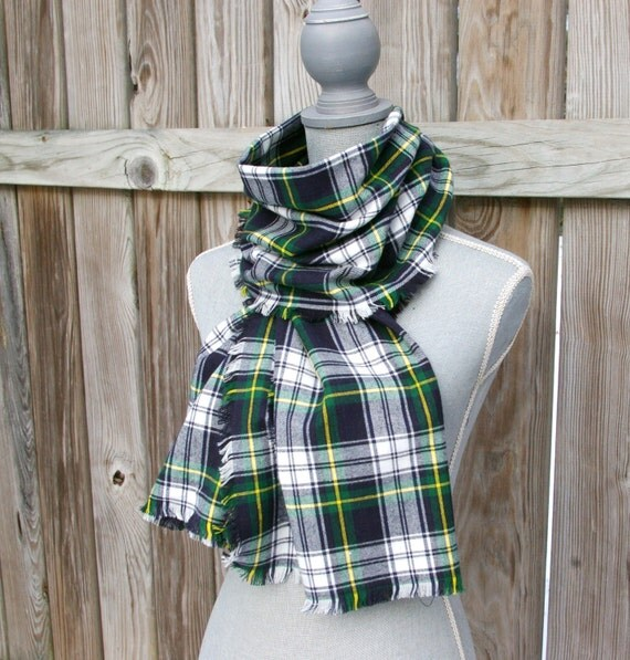Blue And Green Plaid Scarf Plaid Scarf in Blue Green