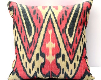 15x15 ikat cushion cover, red ikat pillow, rred cream pillow, ikat pillow