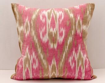 20x20, red ikat pillow, red pillow, ikat pillow cover, cotton ikat
