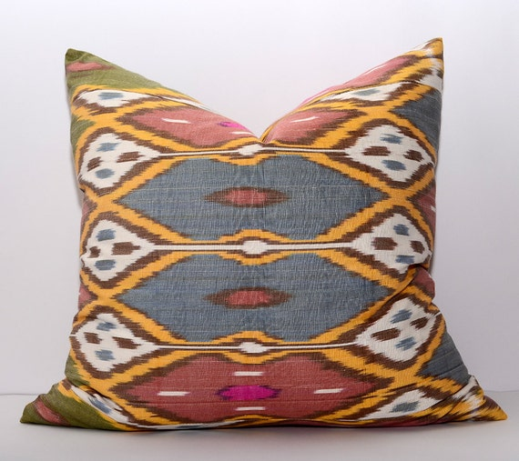 Handmade Ikat Throw Pillows : 20x20 ikat pillow cover 100% handmade silk cotton ikat by SilkWay