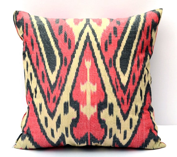 15x15 Throw Pillow Cover : 15x15 ikat cushion cover red ikat pillow rred cream pillow