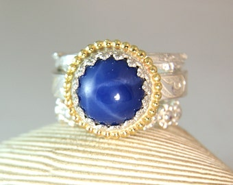 Star Blue Sapphire Stacker Ring, Sterling Sapphire Ring, Yellow Gold, Engagement Ring, Blue Gemstone