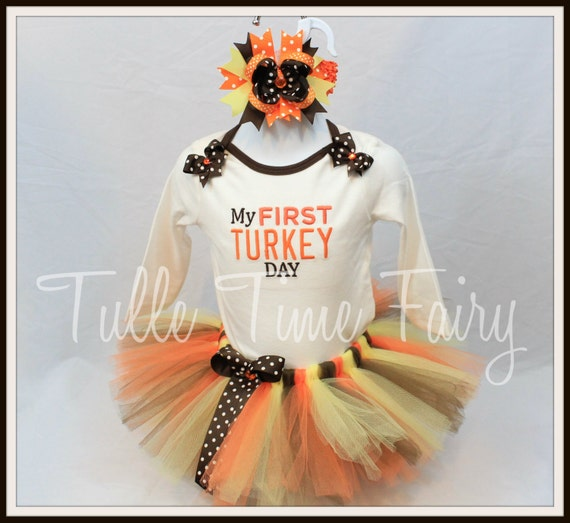 Personalized size 12 months First 1st Thanksgiving Turkey Day body suit onesie tutu dress set outfit with bow