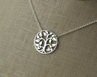 Tree of life connector pendant necklace in sterling silver, family tree, tree charm, sterling silver tree, tree jewelry, mother's day