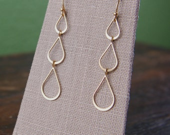 Gold or sterling silver teardrop dangle earrings, long earrings, pear shaped earrings, lightweight earrings