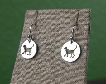 Cat charm earrings in sterling silver, cat jewelry, sterling silver cat, animal charms, kitty cat, cat earrings