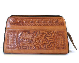 Vintage Aztec Warrior Monster // Tooled Leather Clutch