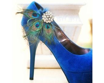 Statement Peacock Fan Shoe Clips. Bride Bridal Bridesmaid Shoe Clip Brooches. Wedding Rhinestone Feather Shoe Heel Clip. Teal Emerald Green