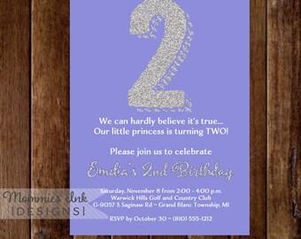 Silver Glitter 2nd Birthday Invitation - Lavender - Second Birthday Invite - PRINTABLE INVITATION DESIGN