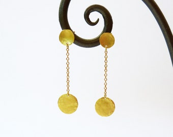 18K GOLD earrings, long dangle earrings, Gold Post earrings, handmade earrings, gold chain