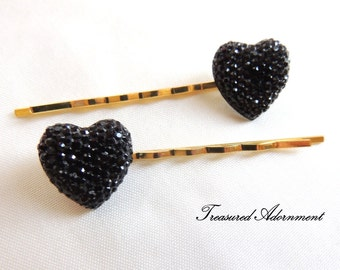 Pave Style Resin Rhinestone Heart Bobby pins - a pair, Black Heart, Gold Hair pin, Wedding, Bridesmaids Hair Accessories, Stocking Stuffer