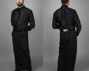 CUSTOM Button Back Skirt for Men, Long and Slim