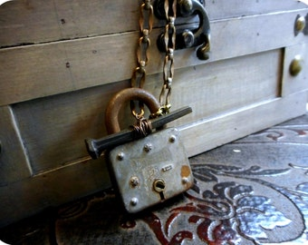 KEPT LOCKED AWAY. Antique padlock and Coffin Nail. Rustic Antique Wearable Gothic Creepy Statement Assemblage. Neck Art