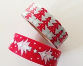 Christmas Tree Snow Washi Tape Christmas washi tape Winter Holiday washi tape Red Gray diy christmas wrapping