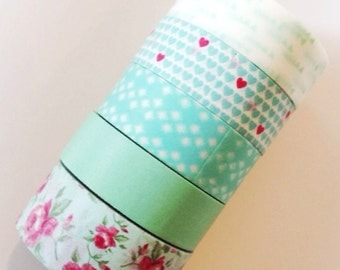 Mint Washi Tape Aqua Mint Wedding Decoration Rose washi tape Argyle Hearts Triangle masking tape (See 2nd Pix for Usage Ideas)