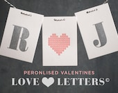 Personilised Valentines Love Letters  Letterpress Card
