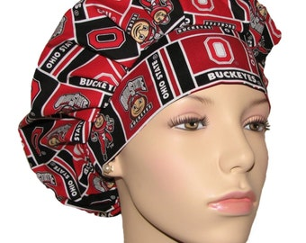 Scrub Hats - The Ohio State University Buckeyes Block Fabric