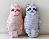 Sloth Plush Pillow set of two, red and blue decorative pillow, Valentines gift, gift for couples, nursery decor,  animal totem