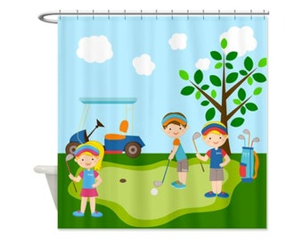 Golf Kids Personalized Shower Curtain - Custom Shower Curtain, For Boys and Girls, Golfing