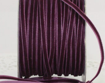 """Eggplant Velvet Ribbon 1/8"""" wide by the yard, Velvet Trim, Weddings, Gift Wrapping, Sewing, Velvet Chokers, Party Supplies, Invitations"""
