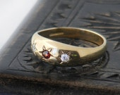 RESERVED for V -  Vintage Engagement Ring | Gypsy Set Garnet, White Topaz Hallmarked 9ct Gold Ring, US Ring Size 7.25, UK Ring Size O 1/2