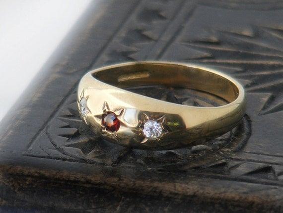 Vintage Engagement Ring | Gypsy Set Garnet, White Topaz Hallmarked 9ct Gold Ring, US Ring Size 7.25, UK Ring Size O 1/2 - January Birthstone
