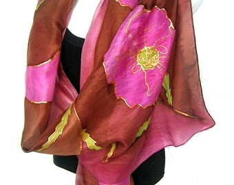 """Hand Painted Silk Scarf, Poppies, Pink Mauve Burgundy Brown, Floral Silk Scarf, 71"""" x 18"""", Gift For Her"""