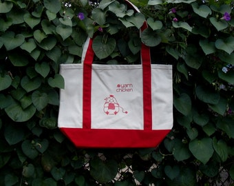 Yarn Chicken Big Canvas Knitting Tote - Gift for Knitters