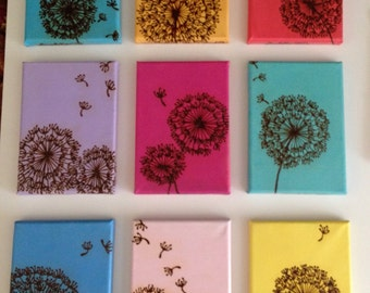 Dandelion Painting, Mixed Media Acrylic Henna Painting - Make a Wish on a Dandelion- OOAK- Unique Global Henna Art