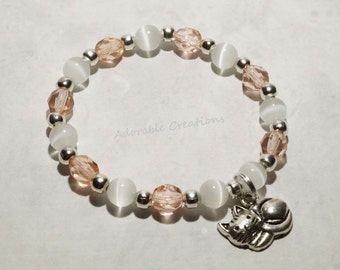 Rose Pink & White Kitty Bracelet