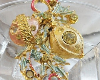 Vintage Christmas Ornament Brooch.  Victorian Revival Pink and Gold Rhinestone Christmas Ornaments Pin