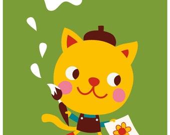 Happy Birthday - card & envelop - kitty
