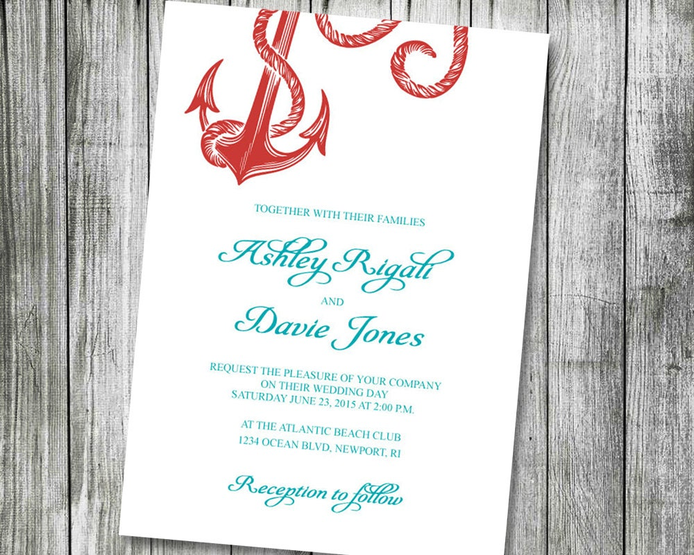Coral And Teal Wedding Invitations: Nautical Wedding Invitation Printable Coral And Teal