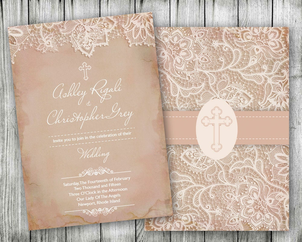 Vintage Lace Christian Wedding Invitations Cross Pink